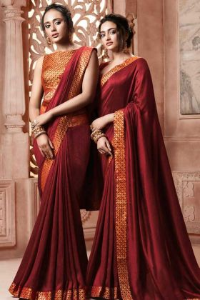 Satin Silk Festive Designer Saree Maroon Color