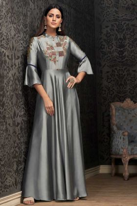 Satin Silk Grey Fancy Gown