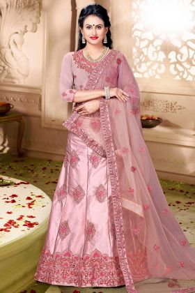 Satin Silk Heavy Embroidered Lehenga Choli Pink Color