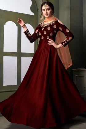 Satin Silk Hevy Anarkali Suit In Resham Embroidered Work Maroon Color
