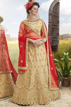 Satin Silk Lehenga Choli Heavy Zari Embroidery Work In Beige Color