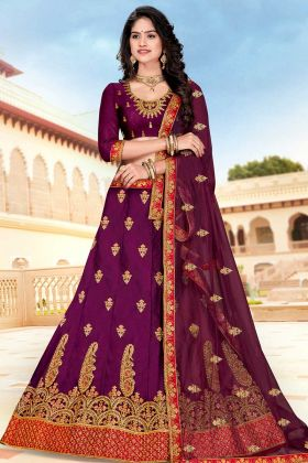 Satin Silk Lehenga Choli Purple Color Jari Embroidery Work With Net Dupatta