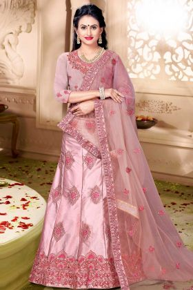 Satin Silk Lehenga Choli Stone Work In Dusty Pink Color