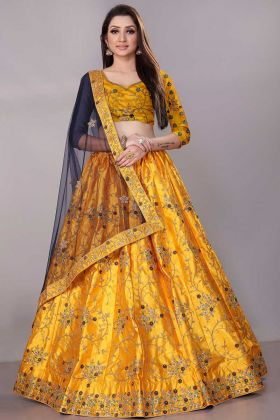 Satin Silk Lehenga Choli Zari Embroidery Work In Yellow Color