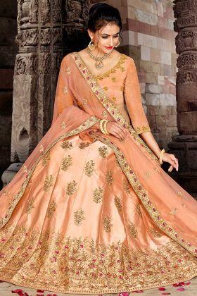 Satin Silk Light Orange Color Wedding Lehenga Choli With Stone Work