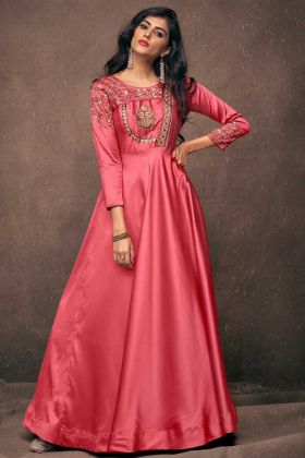 Satin Silk Old Rose Pink Wedding Gown