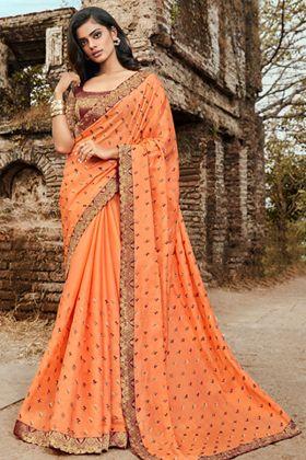 Satin Silk Orange Saree With Maroon Jacquard Silk Blouse