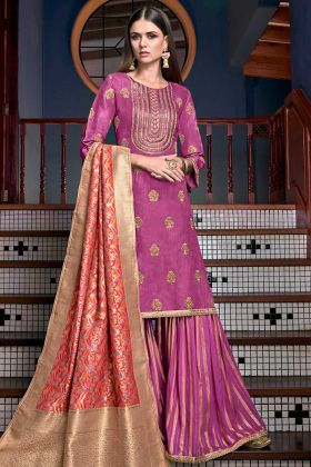 Satin Silk Pakistani Dress Jari Embroidery Work In Magenta Pink Color
