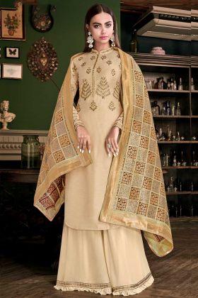 Satin Silk Palazzo Salwar Suit Cream Color With Weaving Work