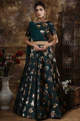 Satin Silk Party Wear Lehenga Choli In Teal Green Color