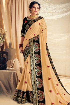 Satin Silk Party Wear Saree In Cream Color