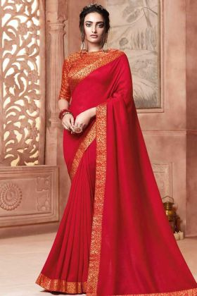 Satin Silk Party Wear Saree Red Color In Weaving Work