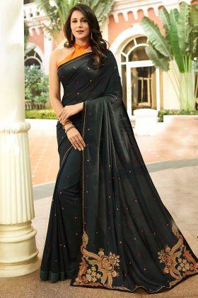 Satin Silk Printed Saree In Black Color
