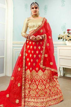 Satin Silk Red Lehenga Choli Heavy Zari Embroidery Work With Net Dupatta