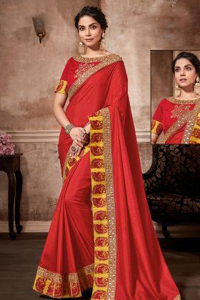 Satin Silk Red Wedding Saree