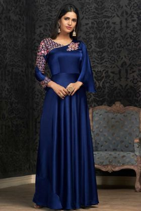 Satin Silk Royal Blue Party Wear Gown