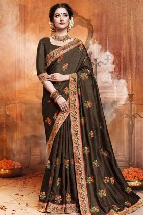 Satin Silk Saree Coffee Brown Color With Jari Embroidery Work