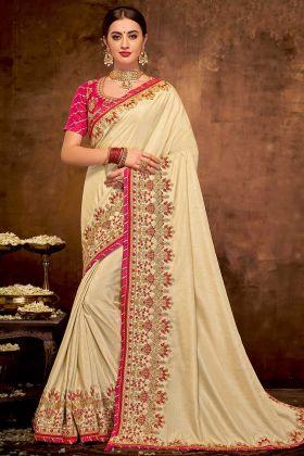 Satin Silk Saree Cord Embroidery Work In Cream Color
