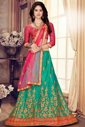 Satin Silk Sea Green Color Circular Lehenga For Women
