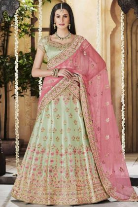 Satin Silk Wedding Bridal Lehenga Choli Stone Work In Pista Green Color