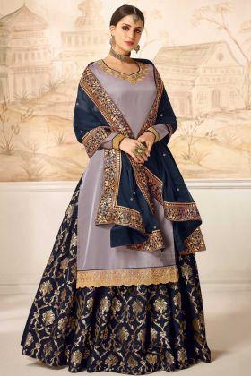 Satin Silk Wedding Indo Western Dress Mauve Grey