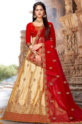 Satin Silk Wedding Lehenga Choli Beige Color With Stone Work