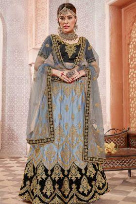 Satin Silk Wedding Lehenga Choli Heavy Zari Embroidery Work In Grey Color