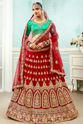 Satin Silk Wedding Lehenga Choli Heavy Zari Embroidery Work In Maroon Color