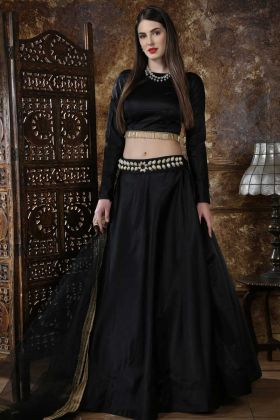 Satin Silk Wedding Lehenga Choli Lace Border Work In Black Color