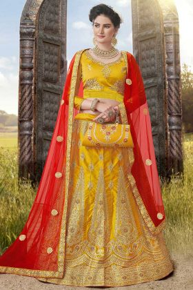 Satin Silk Wedding Lehenga Choli Mustard Color With Net Dupatta