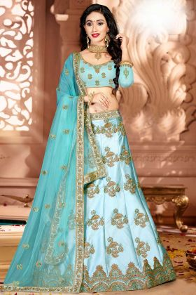 Satin Silk Wedding Lehenga Choli Sky Blue Color With Jari Embroidery Work