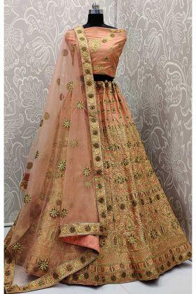 Satin Silk Wedding Lehenga Choli Thread Embroidery Work In Peach Color