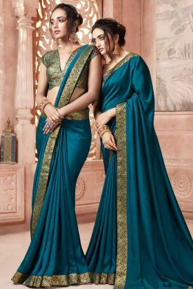 Satin Silk Wedding Saree In Blue Colour With Art Silk Blouse