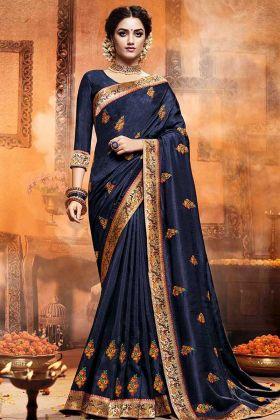 Satin Silk Wedding Saree Resham Embroidery Work Navy Blue Color With Art Silk Blouse