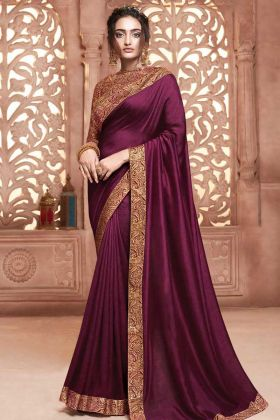 Satin Silk Wedding Saree Weaving Work Purple Color