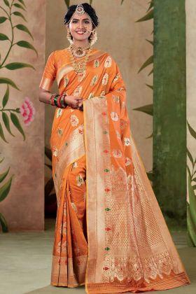 Satin Silk Wedding Saree Weaving Work With Orange Color