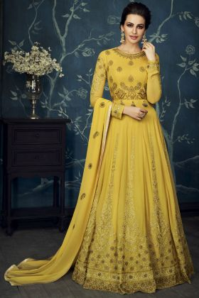 Satin Silk Yellow Anarkali Salwar Kameez