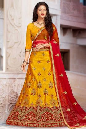 Satin Silk Yellow Color Designer Lehenga In Thread Embroidered Work
