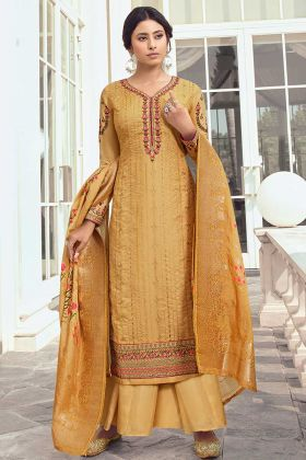 Satin Silk Yellow Color Palazzo Salwar Suit In Embroidered