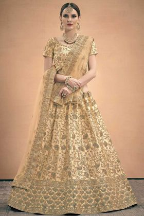 Satin Wedding Lehenga Choli Beige Color With Thread Work