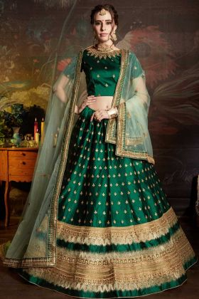 Satin Wedding Lehenga Choli Green Color Embroidery Work With Soft Net Dupatta