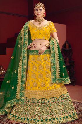 Satin Yellow Wedding Lehenga Choli