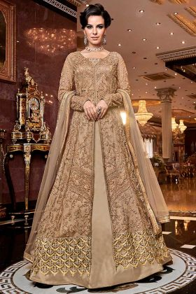 Sawagat Ribbon Embroidery Net Indo Western Suit Beige Color