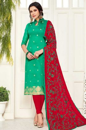 Sea Green Banarasi Silk Dress Material Online