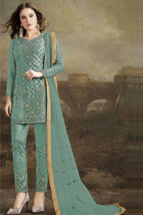 Sea Green Butterfly Net Pakistani Salwar Suit With Embroidery Work