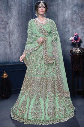 Sea Green Color Bridal Designer Net Lehenga Choli Online