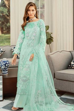 Sea Green Color Designer Pakistani Suit With Embroidery Work