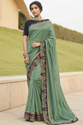 Sea Green Color Fancy Fabric Heavy Saree For Rich Looking