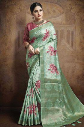 Sea Green Color Jacquard silk Weaving Saree