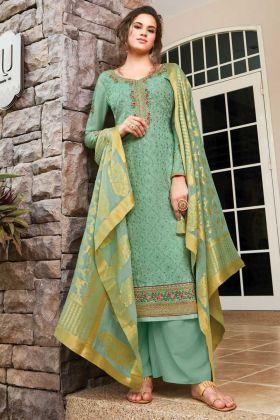 Sea Green Color Party Wear Salwar Suit Online